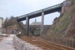 Bridge over the line, station beyond